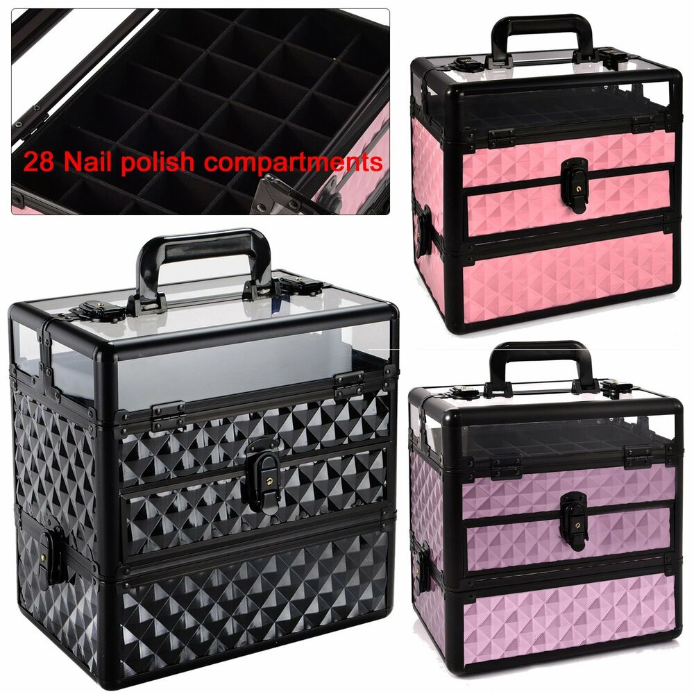 fashion extra large storage make up beauty box nail. Black Bedroom Furniture Sets. Home Design Ideas