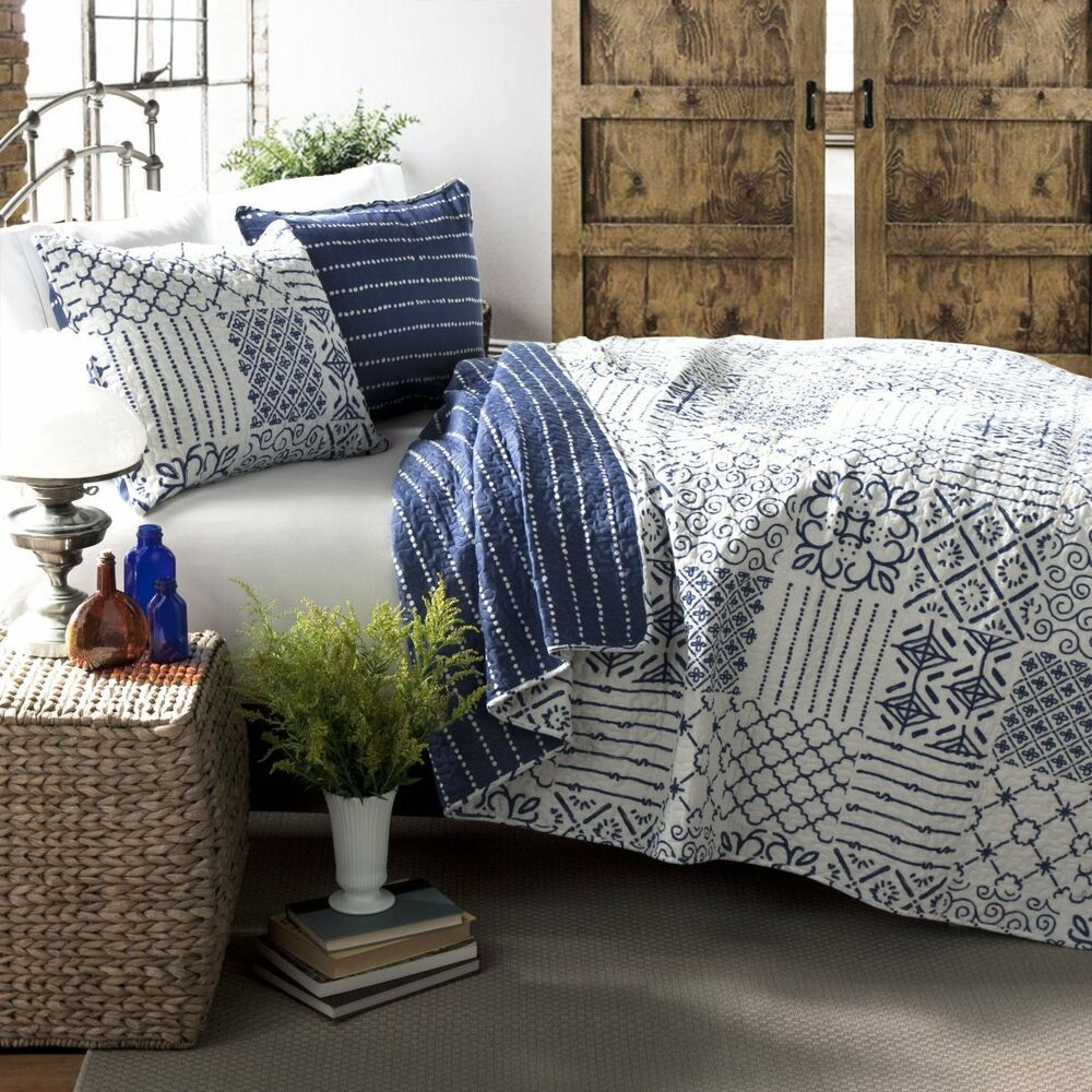 Blue White Cottage Full Queen Quilt Set Geometric Boho