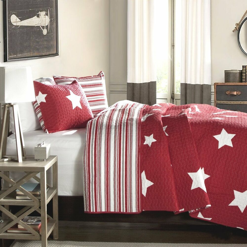 Red Amp White Star Twin Single Quilt Set Cotton Stripe