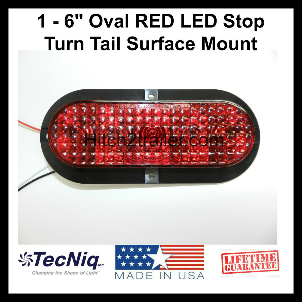 1 6 oval red led stop turn tail light surface mount. Black Bedroom Furniture Sets. Home Design Ideas