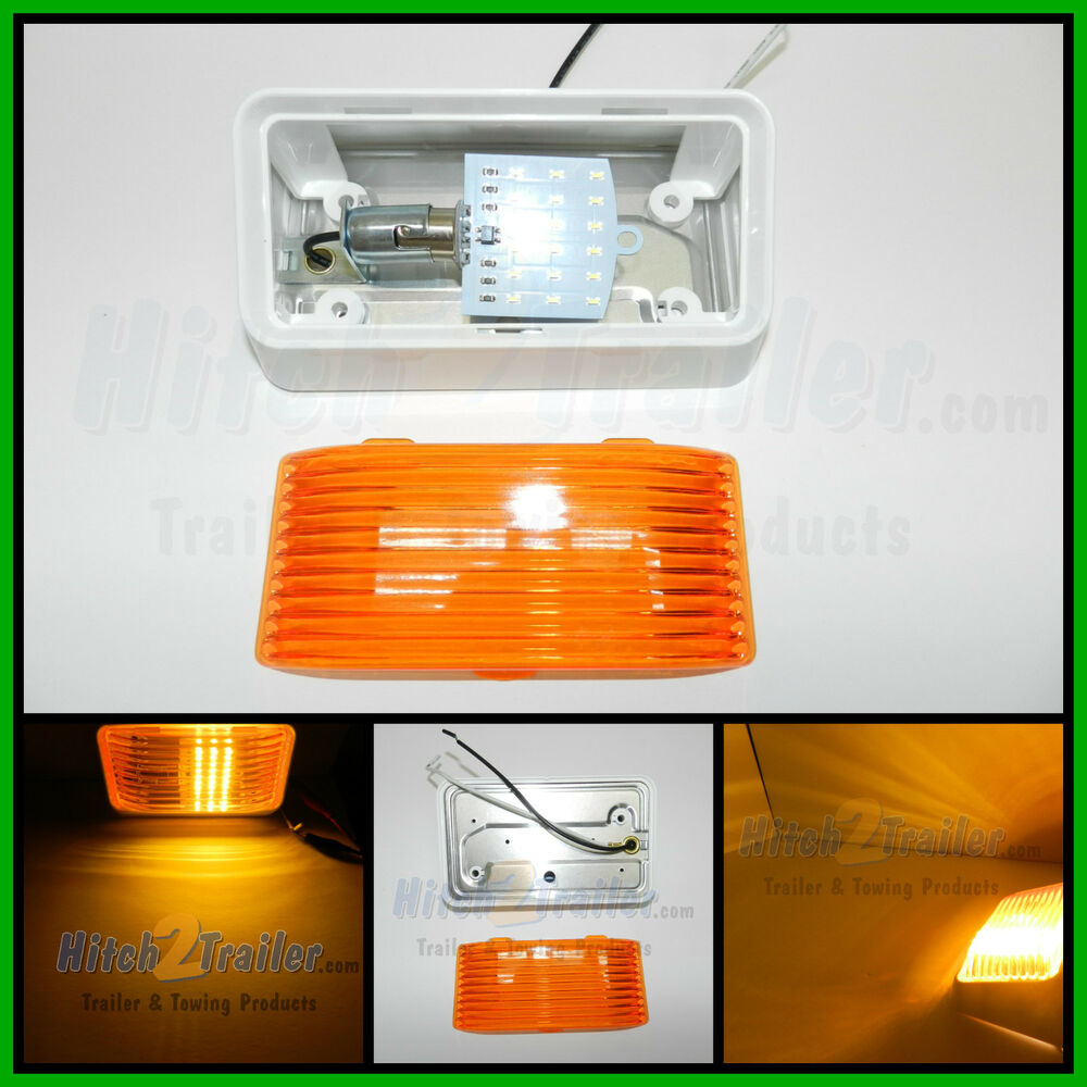 12 volt led rv porch light rectangle amber lens camper rv trailer white exterior ebay. Black Bedroom Furniture Sets. Home Design Ideas