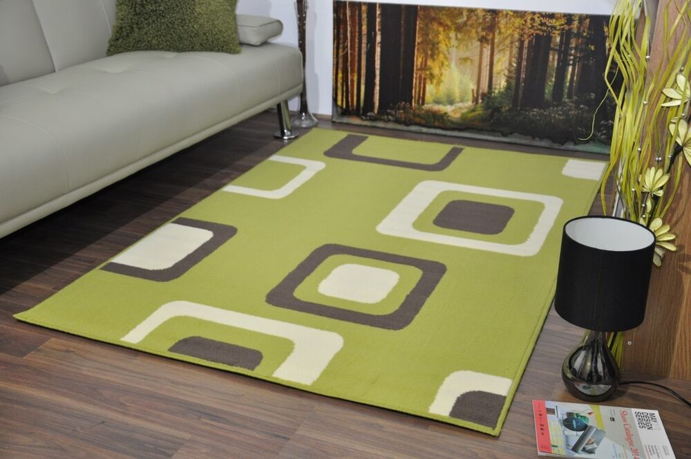 New Lime Green Extra Large Modern Soft Boxed Pattern Area