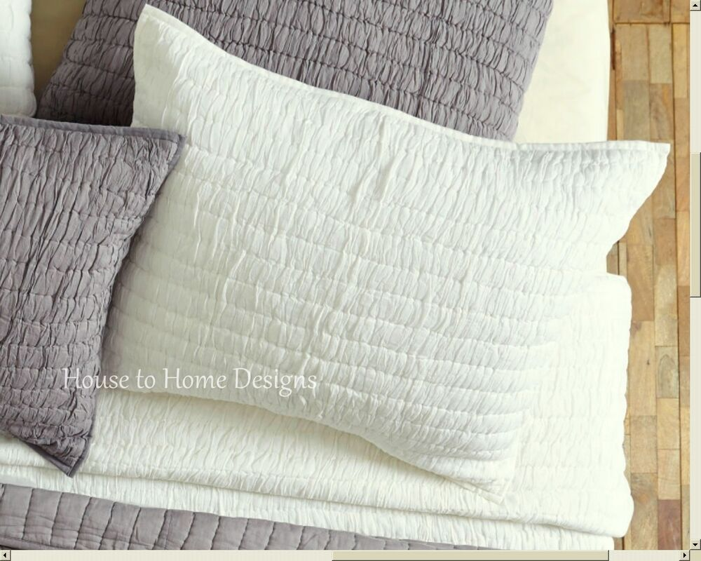 chic ruched euro sham 100 cotton ivory cottage european pillow cover rochelle ebay. Black Bedroom Furniture Sets. Home Design Ideas