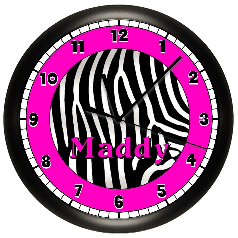 Pink zebra print wall clock hot pink and black for Zebra print and red bathroom ideas