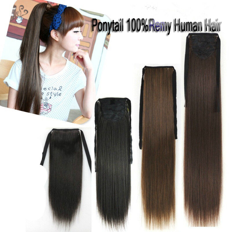 50g Ponytail One Hairpiece Clip In Remy Human Hair Extensions Black