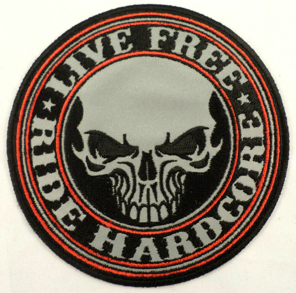 Biker Vest Patches >> Live Free Ride Hardcore Skull Reflective Lg Biker Motorcycle Uniform Patch #Xl | eBay