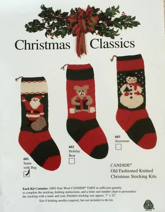 Christmas Classic Stocking Kit- Knitting- Pattern, Yarn Included- 7 ...