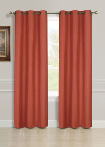 2 Panels Solid Rust Orange Thermal Lined Blackout Grommet