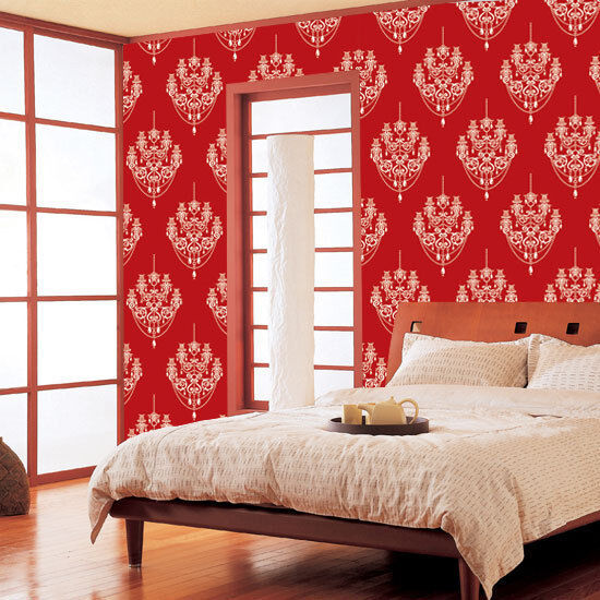 Damask wallpaper red self adhesive vinyl contact paper for Home wallpaper ebay