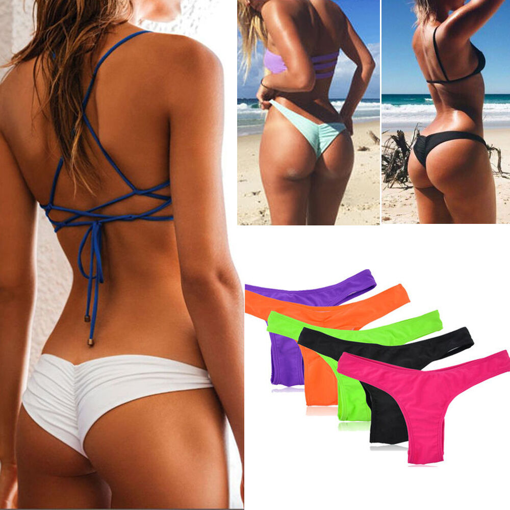 women's thong bikini bottoms For those brave beach babes that want to bare it all, thong bikini bottoms offer skimpy coverage for optimal tanning. With the barely-there coverage at the rear, your tan lines will be a thing of the past.