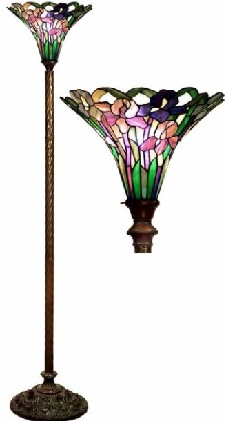 Antique Tiffany Style Iris Torchiere Lamp Lamps Torch Floor Glass Metal Ebay