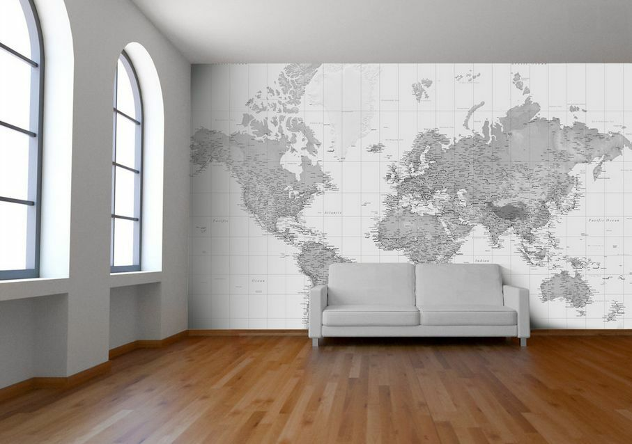 black and white world map wallpaper map mural printed