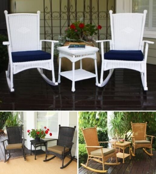 3 Pc Rocker Resin Wicker Patio Set Chair Table Outdoor