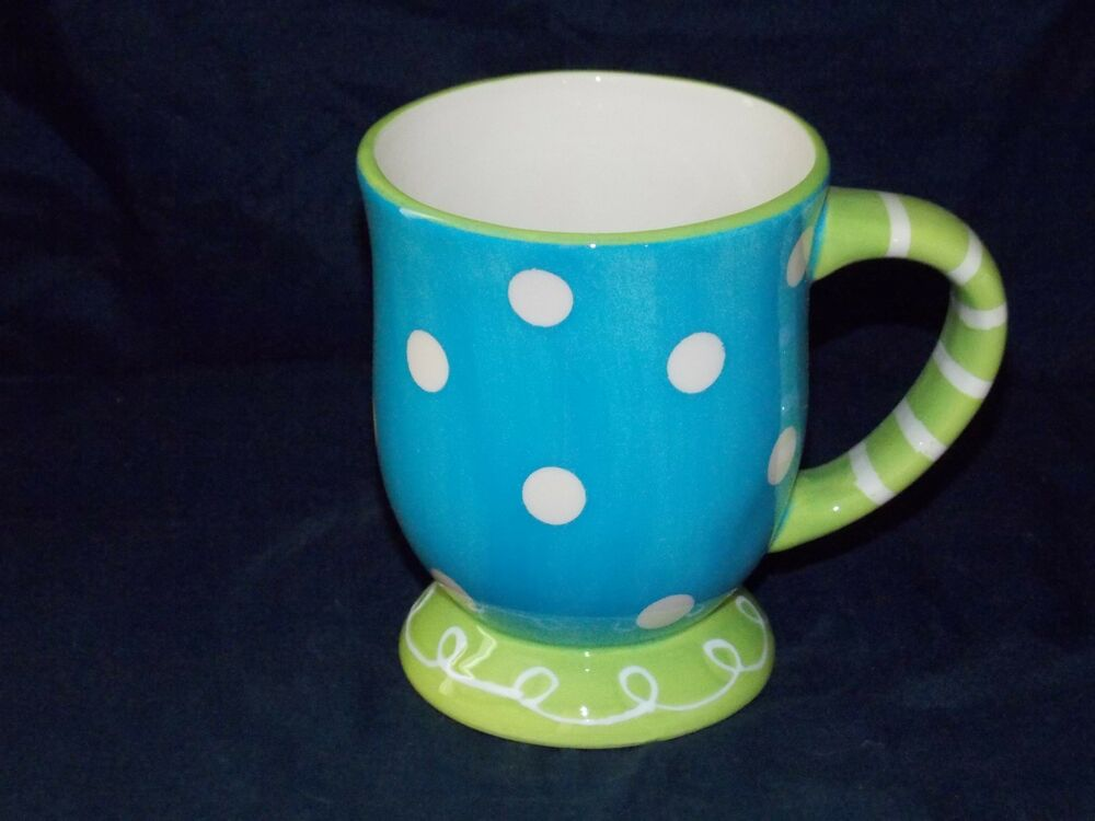 New Ceramic 15oz Aqua Breeze Blue Polka Dot Coffee Hot