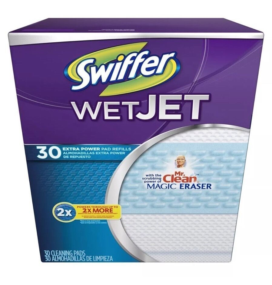 Swiffer Wet Jet Extra Power Pad Refills 30 Ct Free