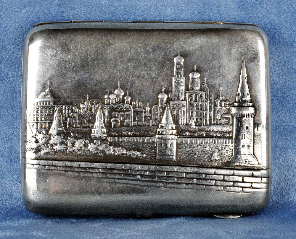 antique 1900 russian silver cigarette case featuring city. Black Bedroom Furniture Sets. Home Design Ideas