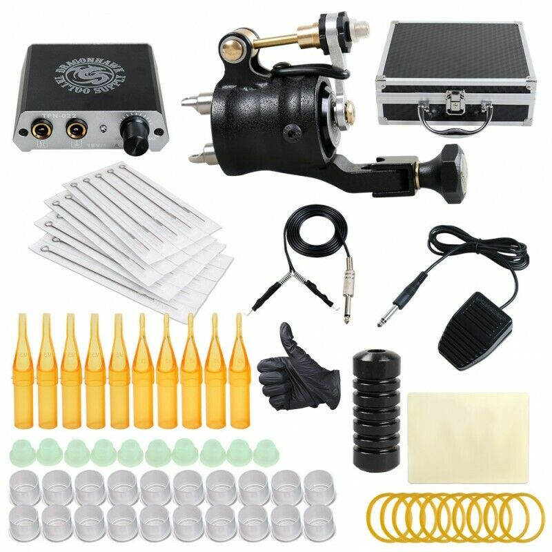 Professional complete tattoo kit 2 top machine gun 20 for Supplies for tattooing