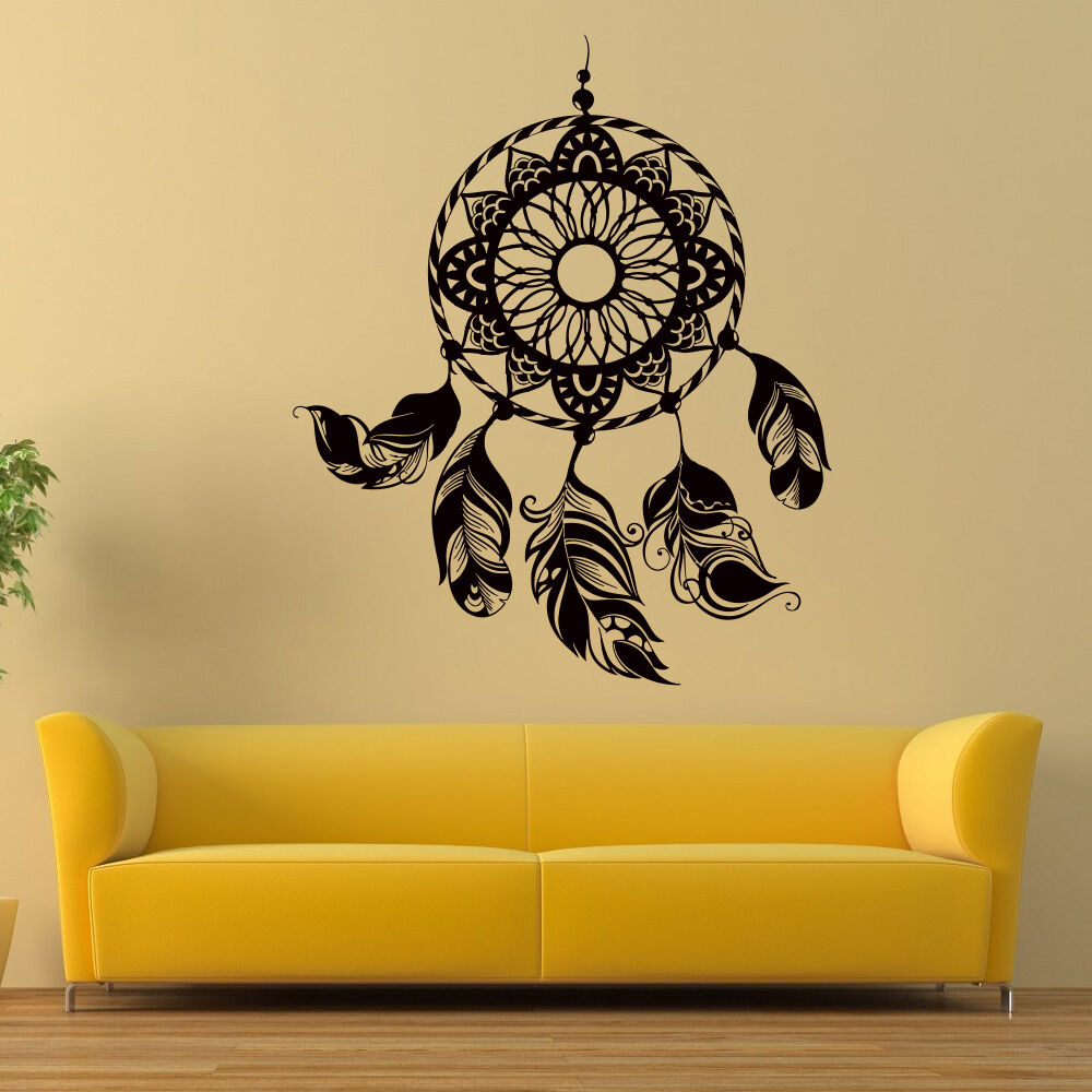 Dream catcher wall boho vinyl decals decor dreamcatcher for Bedroom wall decals