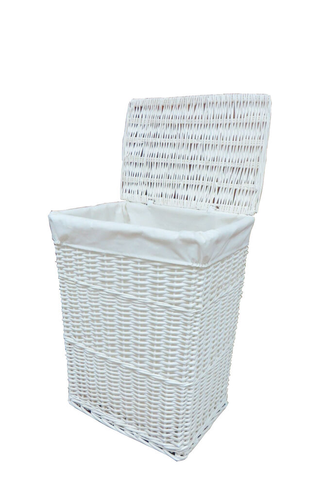 White medium wicker laundry linen basket with whitelining White wicker washing basket