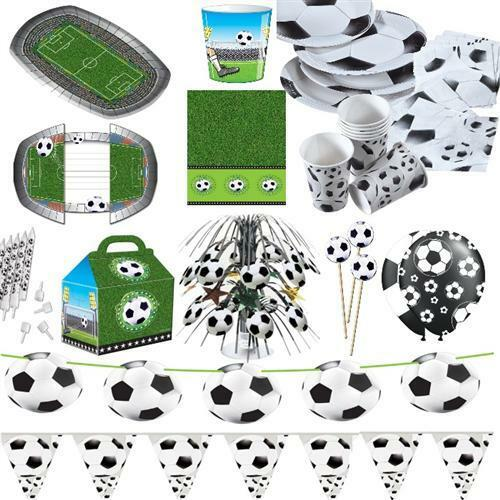 fussball party set geschirr dekoration schwarz wei sport fest kinder geburtstag ebay. Black Bedroom Furniture Sets. Home Design Ideas