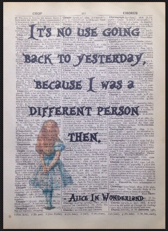 Alice In Wonderland Quote Vintage Dictionary Book Page