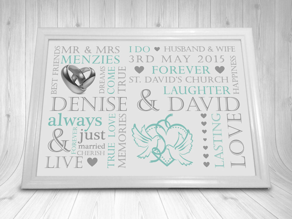 Wedding present personalised print word art gift marriage for Personalised word art template