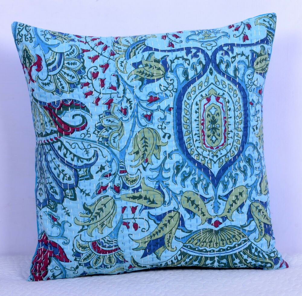 "16"" Indian Floral Kantha Throw Ethnic Cushion Cover Ethnic ..."