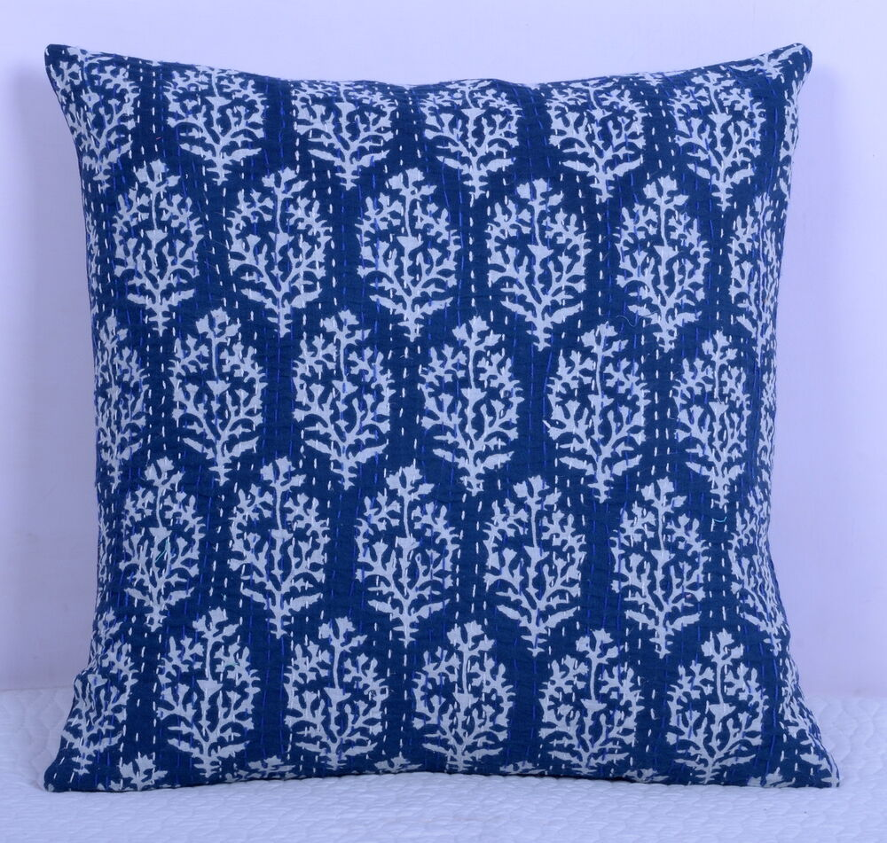 Indian Decorative Kantha Handmade Floral Cushion Cover