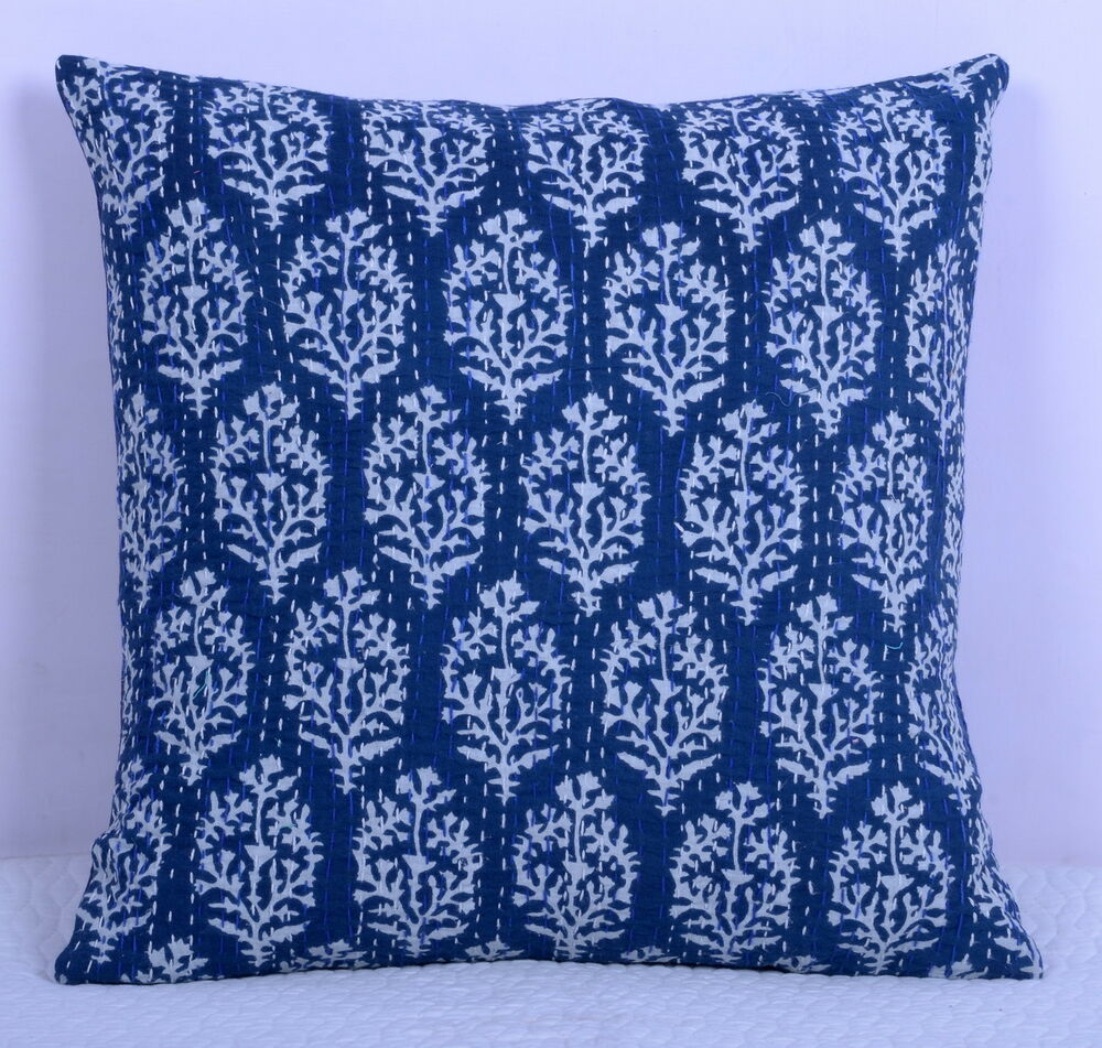 Decorative Floral Pillow Covers : Indian Decorative Kantha Handmade Floral Cushion Cover Throw Ethnic Pillow Case eBay
