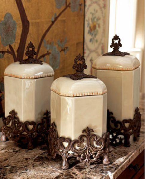 The Gg Collection Provencial Set Of 3 Ceramic Amp Metal