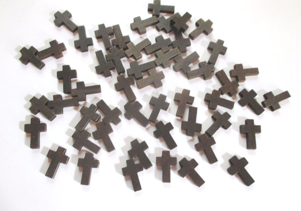 Wholesale lot of 100 small dark brown wood crosses 7 8 for Cheap wooden crosses for crafts