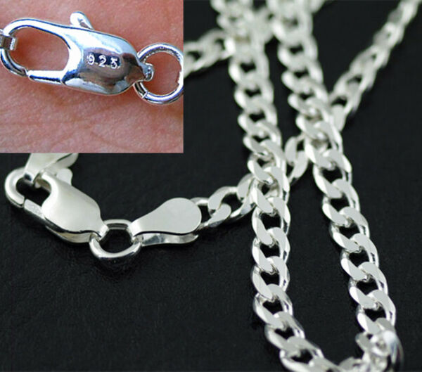 Fashion 4MM 925 Sterling Silver Plated Chain Men Figaro Necklace 16-30 Inch NEW