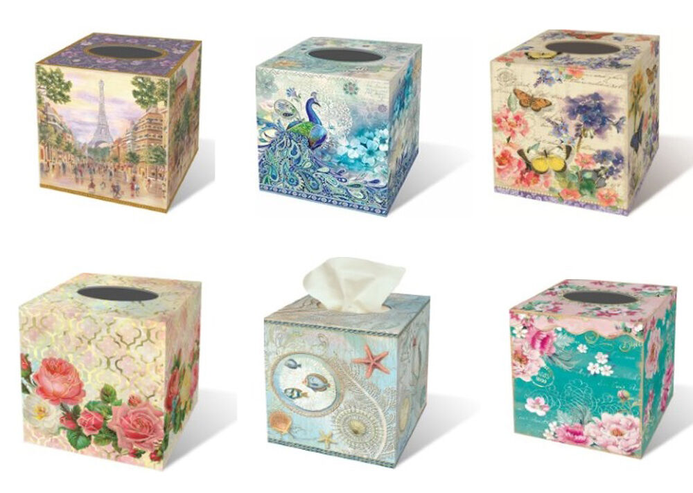 Punch Studio Boudoir Collection Square Tissue Box Covers