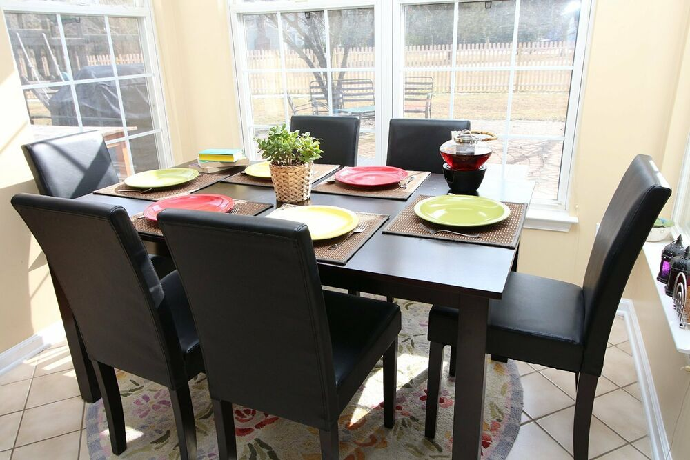 7pc espresso dining room kitchen set table 6 black