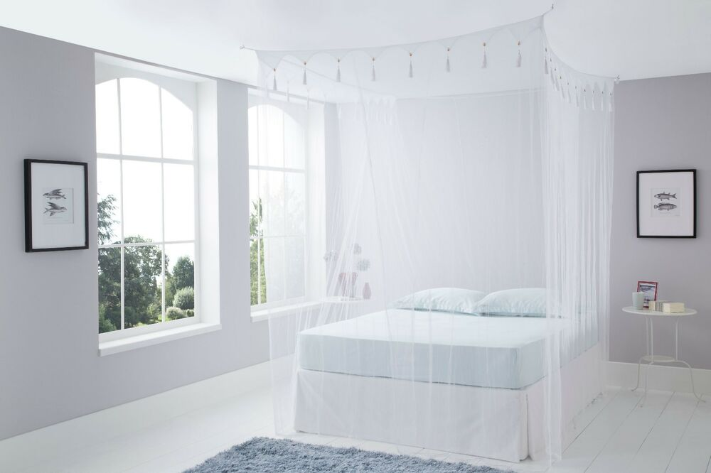 King Size Deluxe White Box Mosquito Net Bed Canopy Four