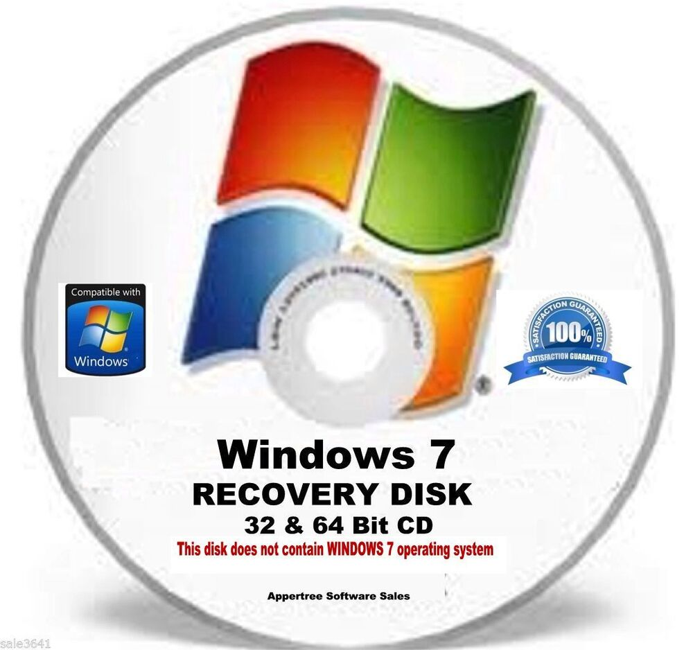 Window 7 32 64 bit disc repair recover restore for Window 64 or 32