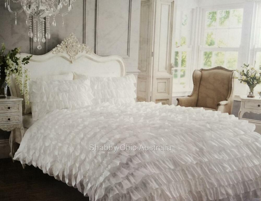 shabby white satin ruffle single bed petticoat doona duvet. Black Bedroom Furniture Sets. Home Design Ideas