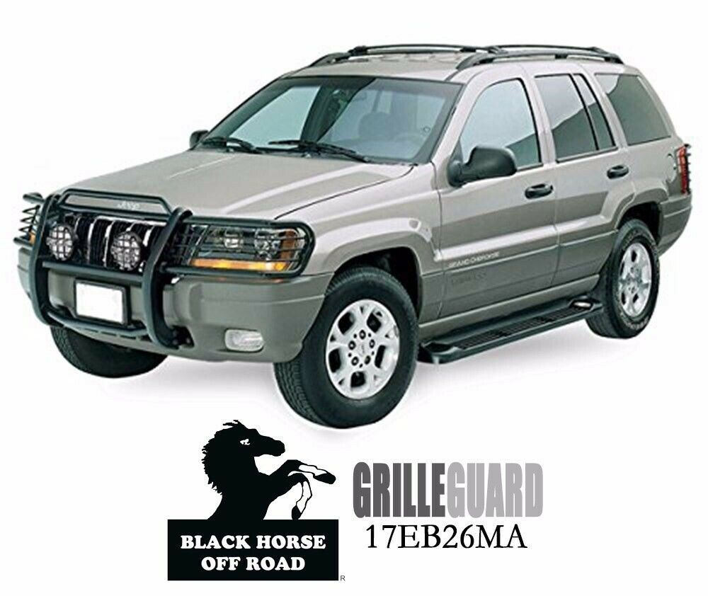fits 99 04 jeep grand cherokee black grille guard by black horse 17eb26ma ebay. Black Bedroom Furniture Sets. Home Design Ideas