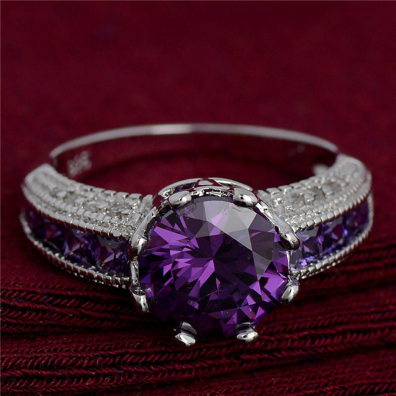 nice 925 silver purple cubic zirconia ring engagement ring fashion ring for girl ebay. Black Bedroom Furniture Sets. Home Design Ideas