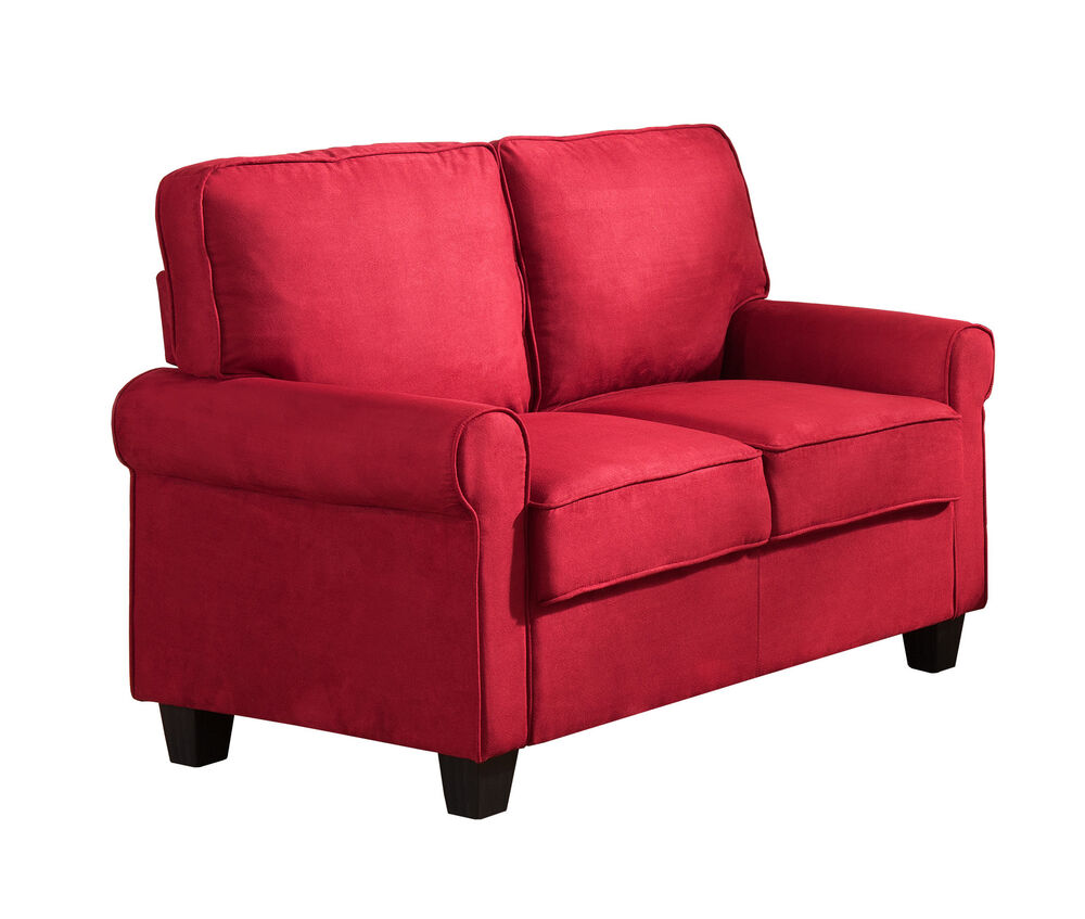Kings brand furniture red microfiber fabric loveseat new Fabric sofas and loveseats