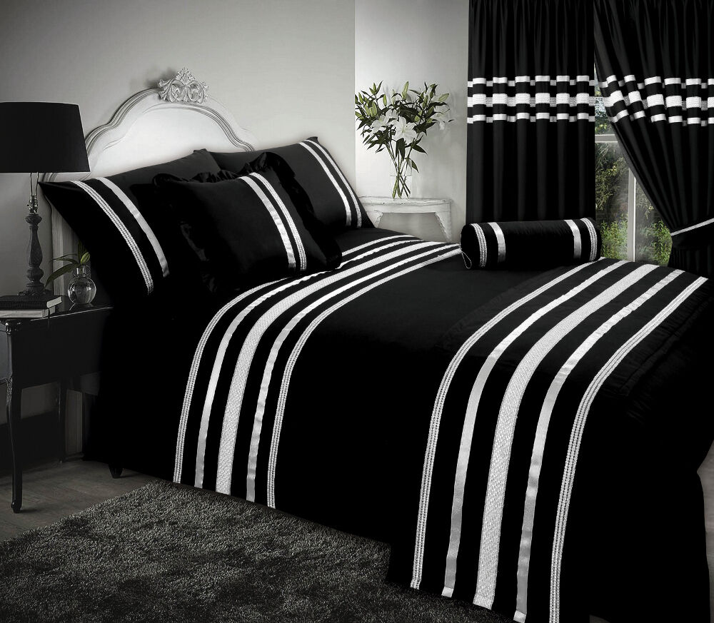 Black Silver Ribbon 200 Thread Count Cotton Luxurious