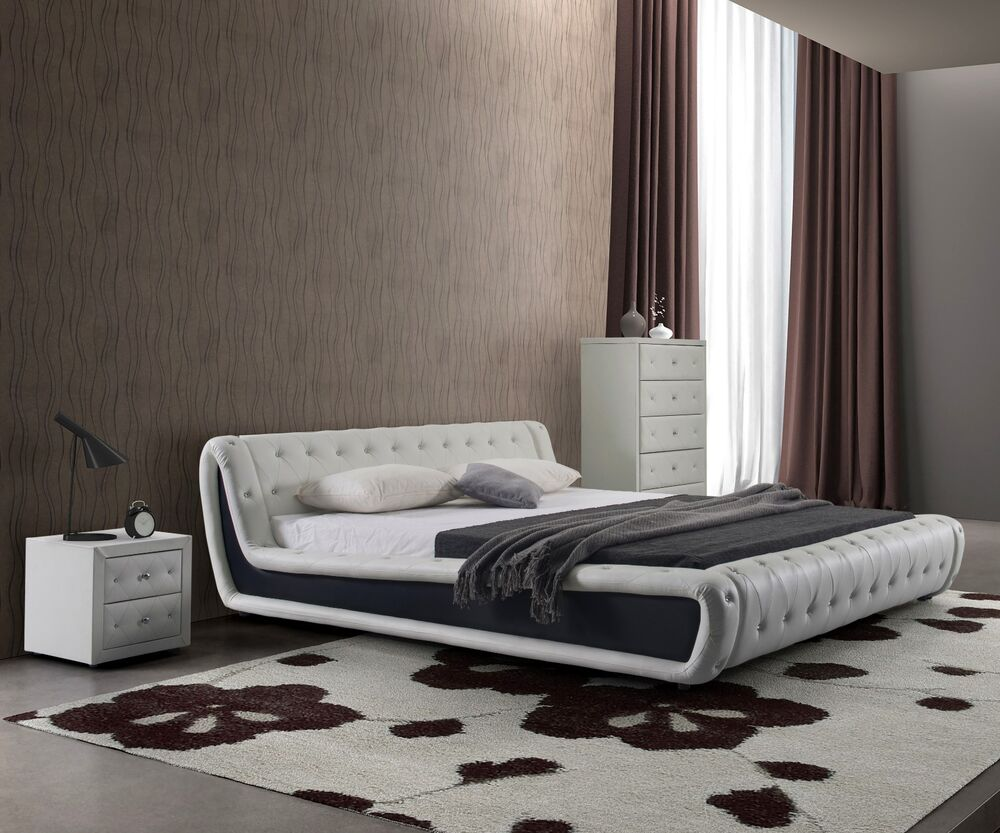 Dorian White With Black Faux Leather Modern Platform Bed