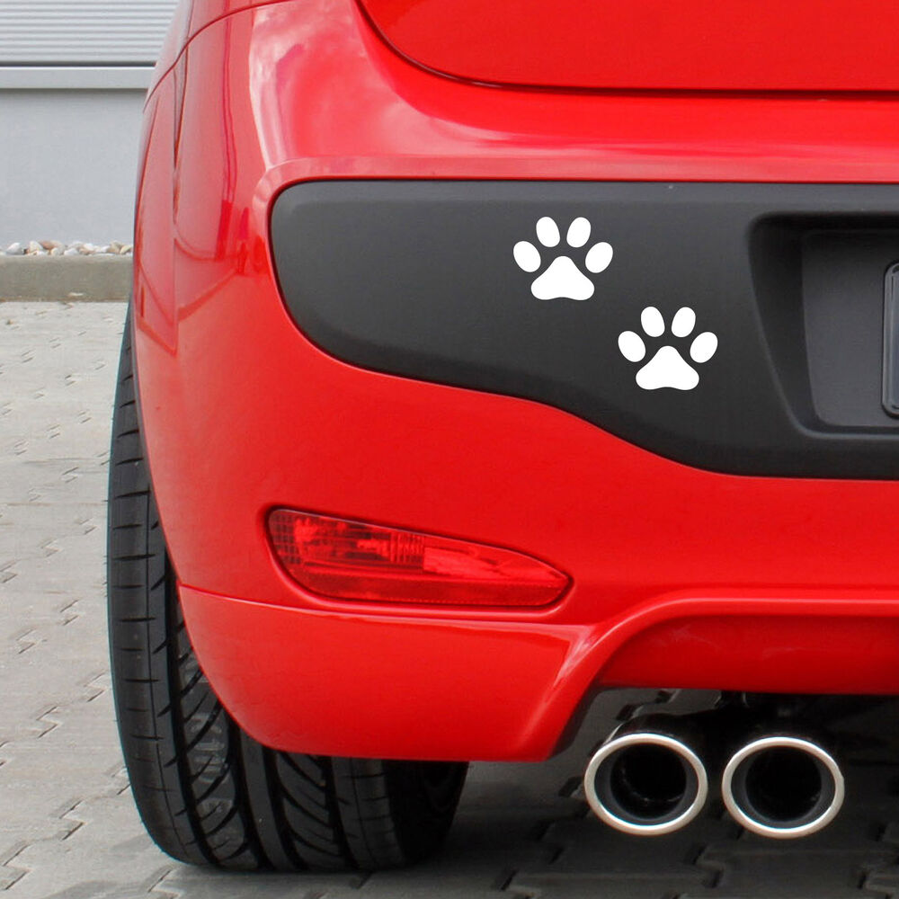 White Paw Print Car Stickers Pack Of 12 Paw Print Shaped