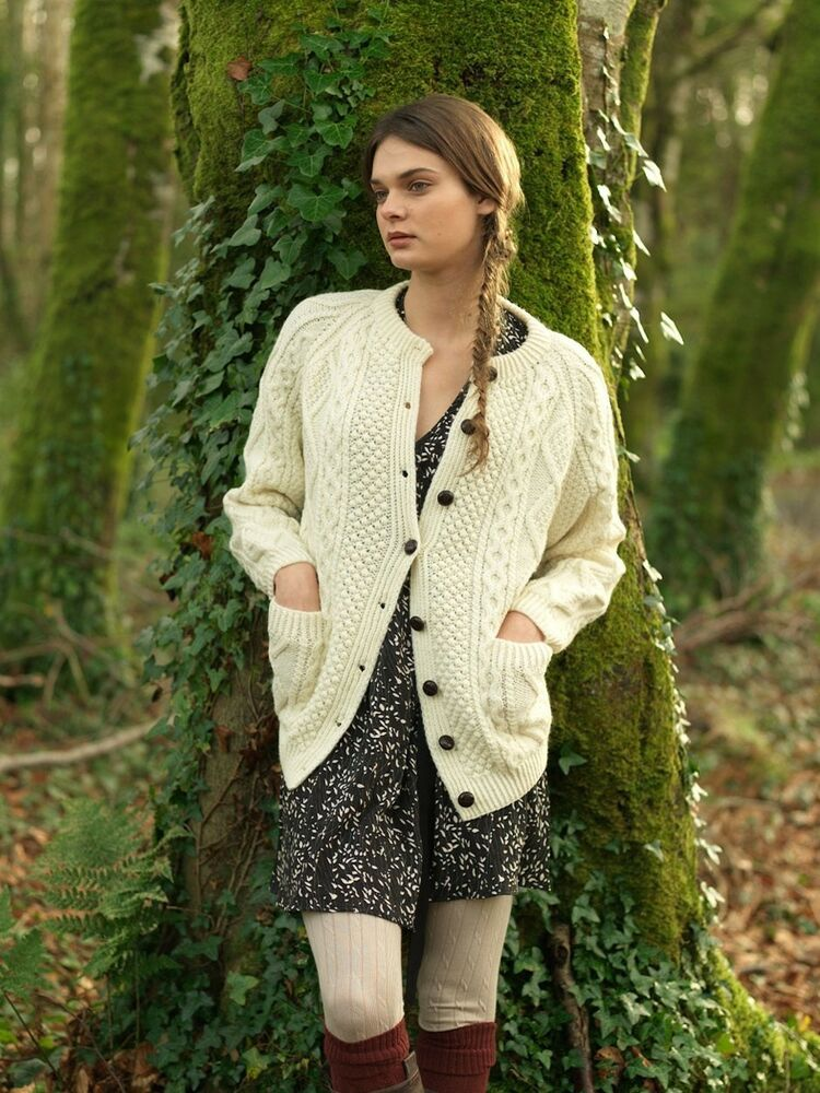Women's Aran Handknit Lumber Jacket Cardigan By Carraig ...