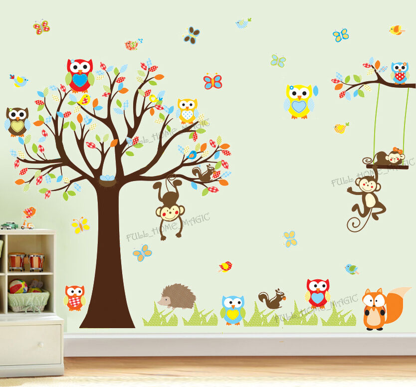4 Cute Monkeys Wall Decals Sticker Nursery Decor Mural: Huge Owls Monkey Tree Jungle Animal Wall Stickers Art