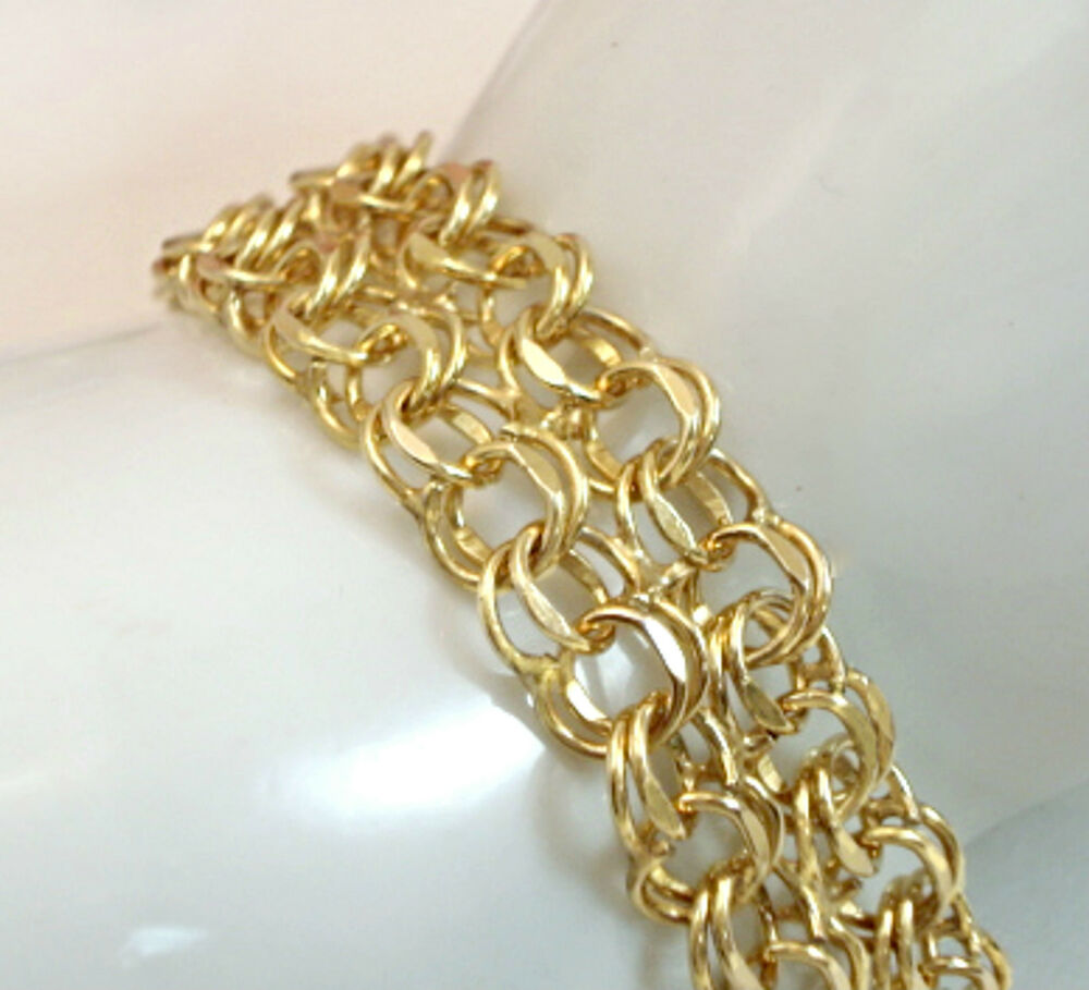 Vintagei jewelry 12 kt gold filled starter charm bracelet for Gold filled jewelry