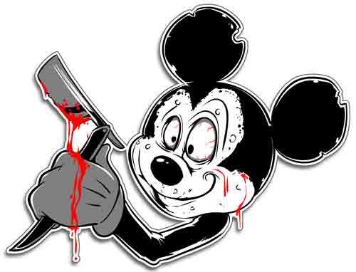 Psycho Mickey Sticker Crazy Mouse Decal Looney Toon Ebay