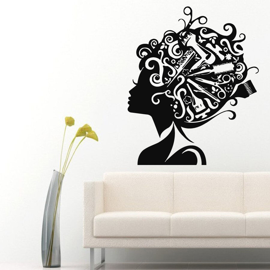 Wall decals girl vinyl sticker comb scissors decal hair for Spa wall decor