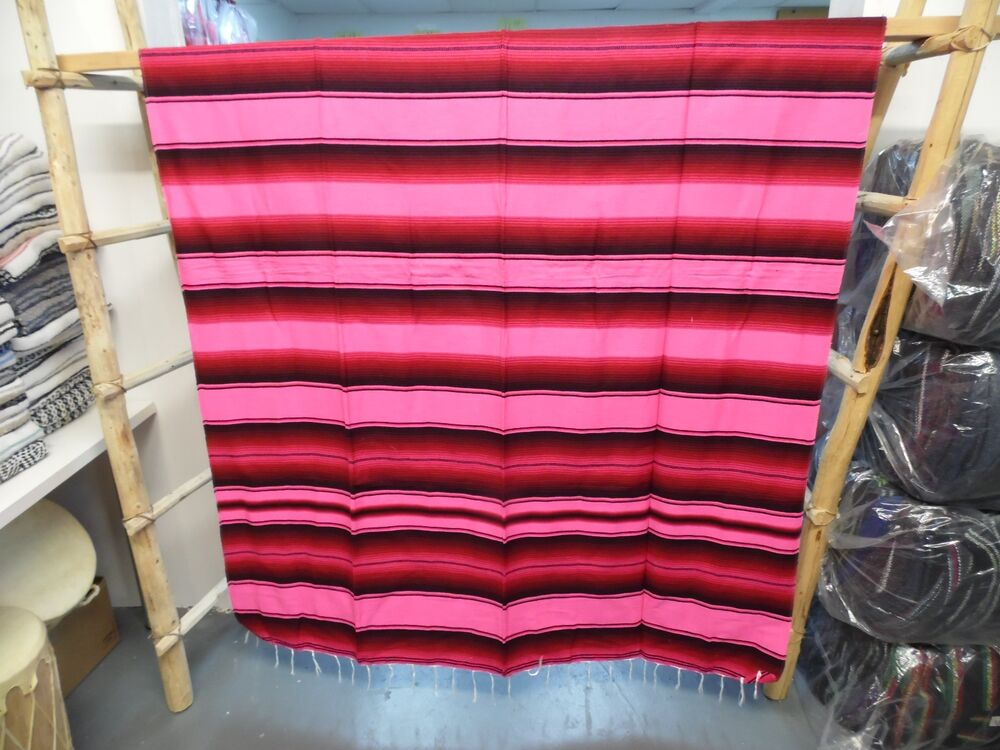 serape xxl 5 39 x7 39 mexican blanket hot rod seat covers motorcycle red pink ebay. Black Bedroom Furniture Sets. Home Design Ideas