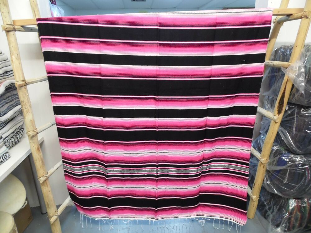serape xxl 5 39 x7 39 mexican blanket hot rod seat covers motorcycle black pink ebay. Black Bedroom Furniture Sets. Home Design Ideas